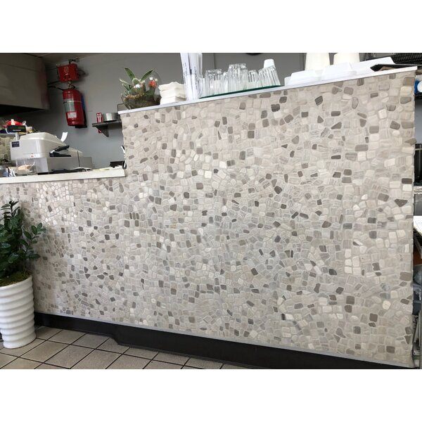 Wood Age Random Sized Marble Mosaic Tile in Tan/White