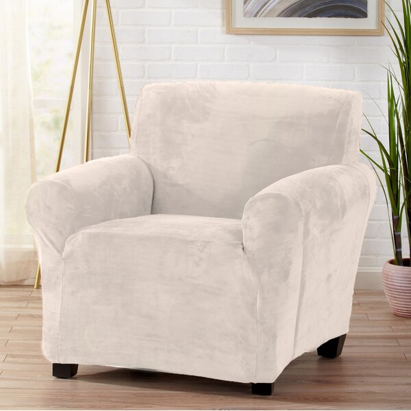 Velvet Plush Form Fit Stretch T-Cushion Armchair Slipcover by Symple Stuff