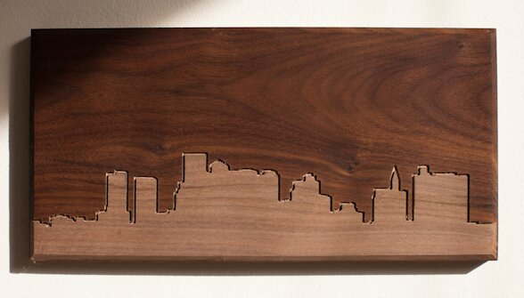 City Skylines Solid Walnut Boston Skyline Routing Wall Art by Dave Marcoullier Wood Routings