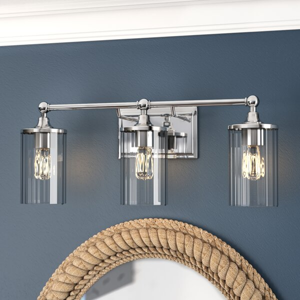 Hague 3-Light Vanity Light with Clear Ribbed Glass