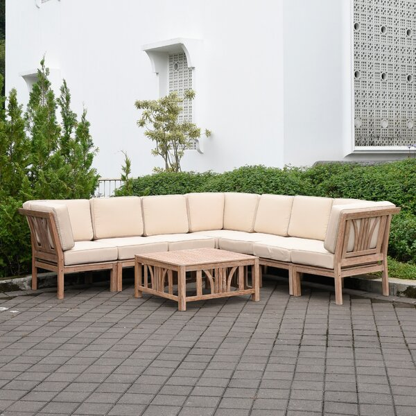 Coronel 8 Piece Teak Sectional Seating Group with Cushions by Gracie Oaks