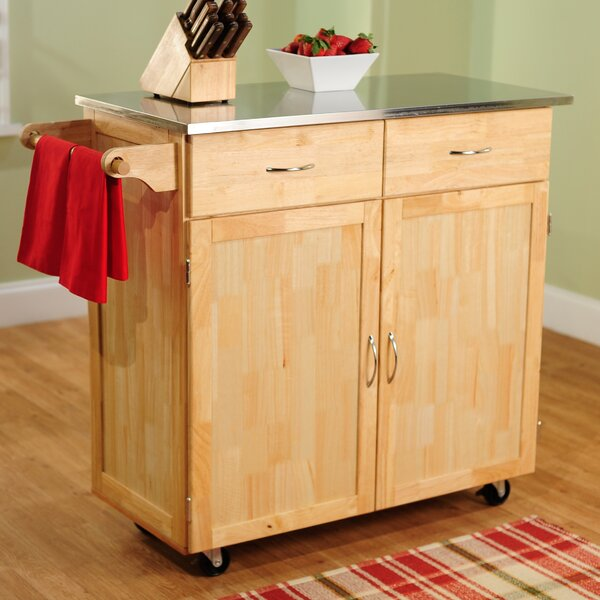 Large Kitchen Cart with Stainless Steel Top by TMS
