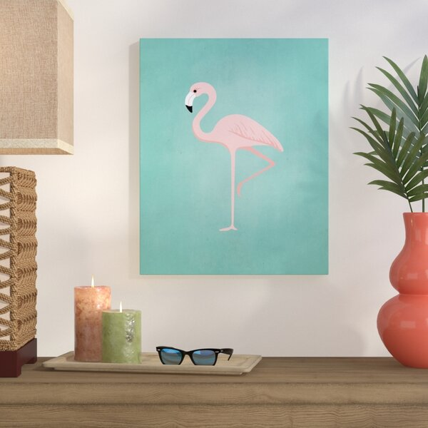 Palm Sprints Flamingo Graphic Art on Wrapped Canvas by Bay Isle Home