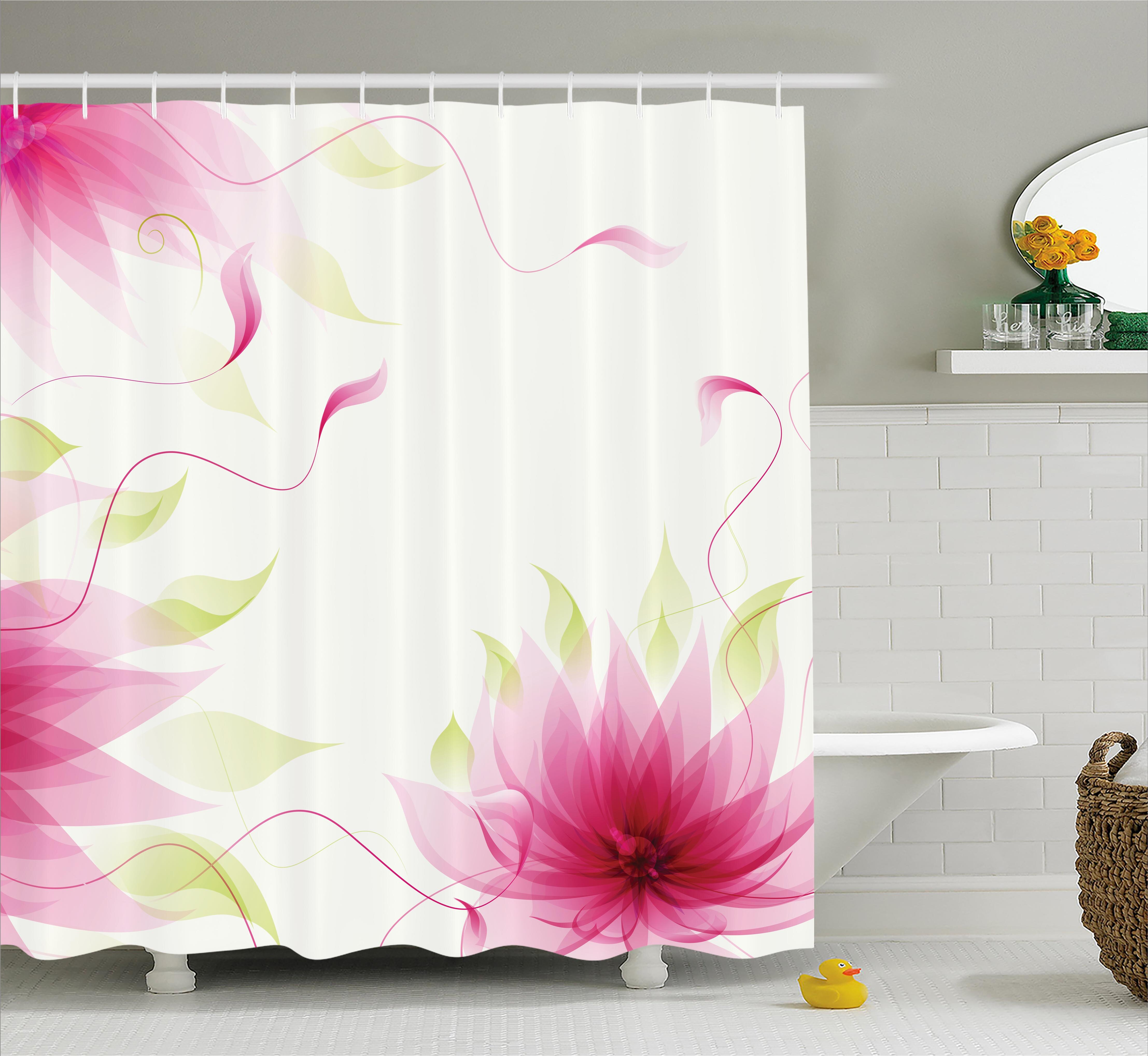 Ebern Designs Terry Ivy Flowers Leaves Abstract Natural Botanic Relaxing Lotus Design Print Shower Curtain