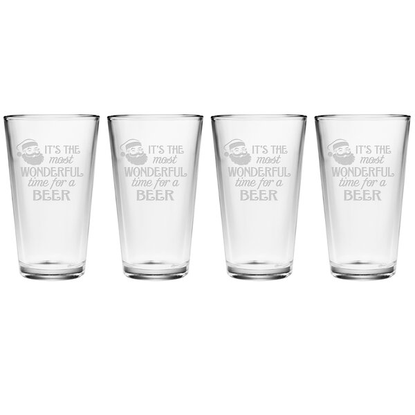 Most Wonderful Time Pint 16 oz. Glass Every Day Glass (Set of 4) by The Holiday Aisle