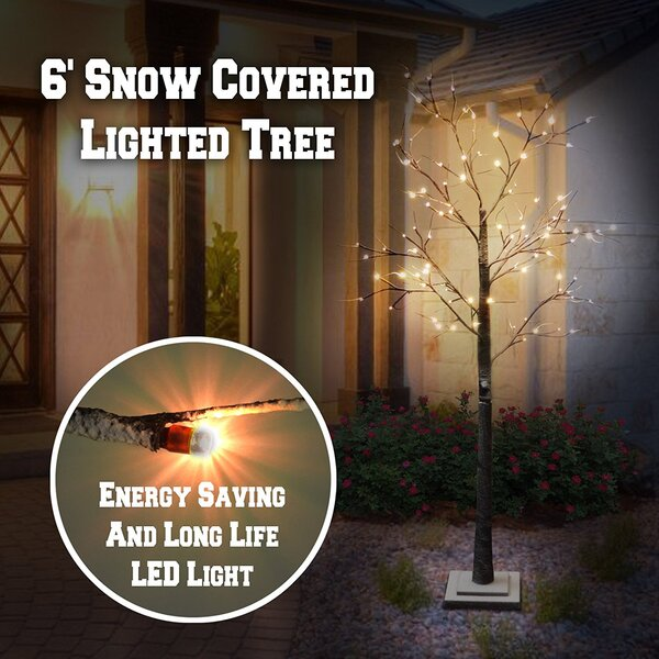Snow Tree Snow Flake Decoration 98 Light Bulb by The Holiday Aisle