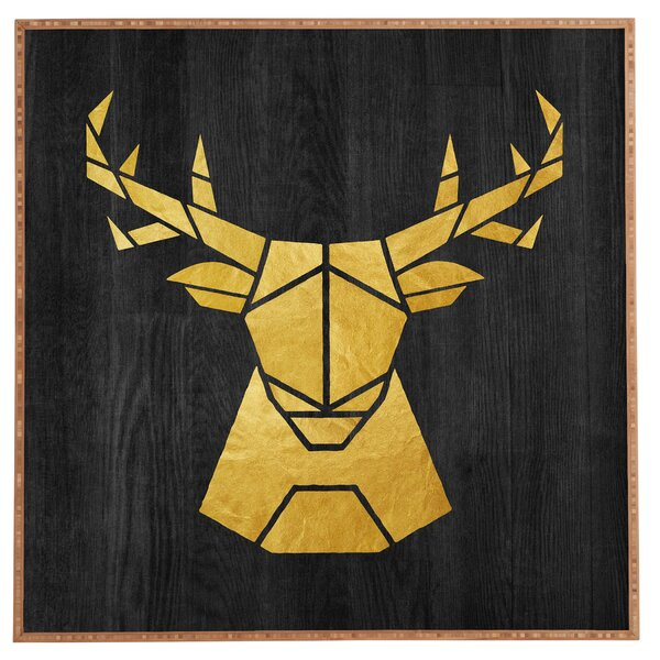Deer Symmetry Framed Graphic Art by East Urban Home