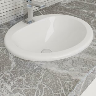 Find for Vitreous China Oval Drop-In Bathroom Sink with Overflow By Cantrio Koncepts