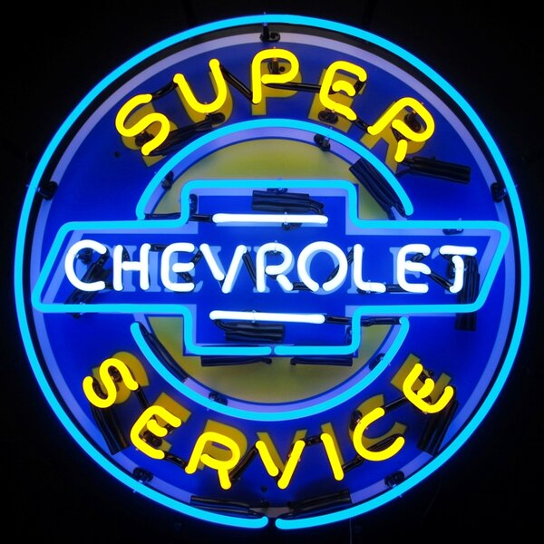 Super Chevy Service Neon Sign with Backing by Neonetics