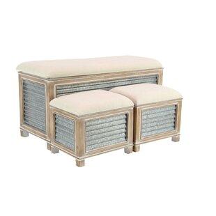 Purchase Wiggins Farmhouse Upholstered Storage 3 Piece Bench Set ByGracie Oaks