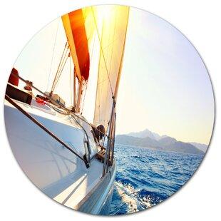 u0027Sailboat Sailing in the Blue Seau0027 Photographic Print on Metal. by Design Art  sc 1 st  Wayfair & Metal Sailboat Wall Art | Wayfair