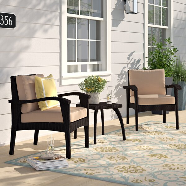 Hagler 3 Piece Seating Group With Cushions by Sol 72 Outdoor