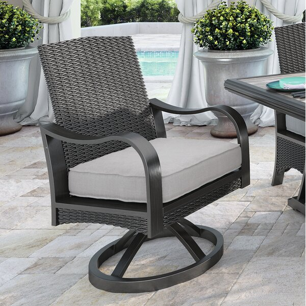 Kohn Swivel Patio Dining Chair with Cushion (Set of 2) by Bayou Breeze