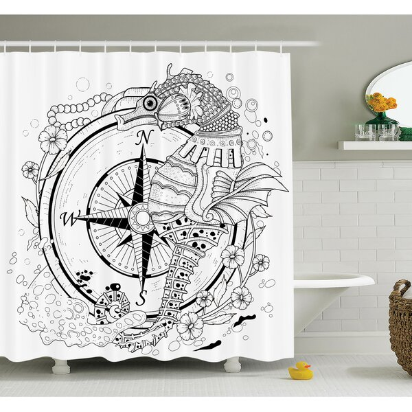 Ambesonne Compass Seahorse Shower Curtain Set