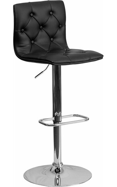 Outen Mid Back Tufted Adjustable Height Swivel Bar Stool by Wrought Studio