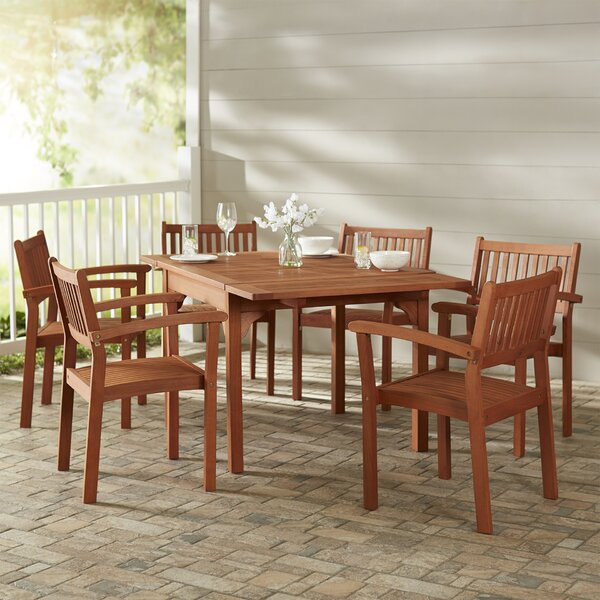 Monterry Traditional 7 Piece Wood Dining Set by Beachcrest Home