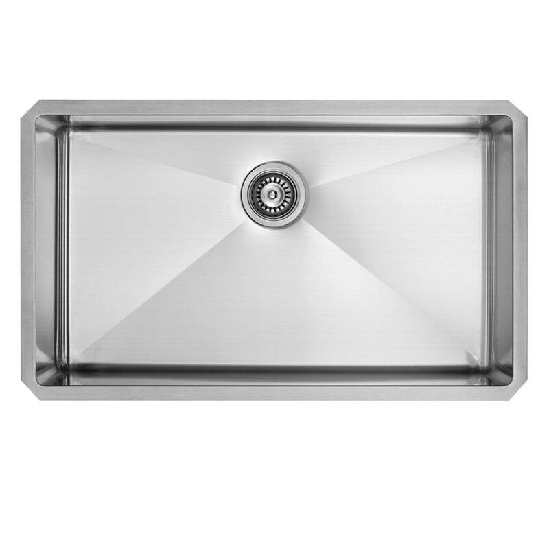 30 inch undermount single bowl 16 gauge stainless steel kitchen sink with edison chrome faucet vigo 30 inch undermount single bowl 16 gauge stainless steel      rh   wayfair com