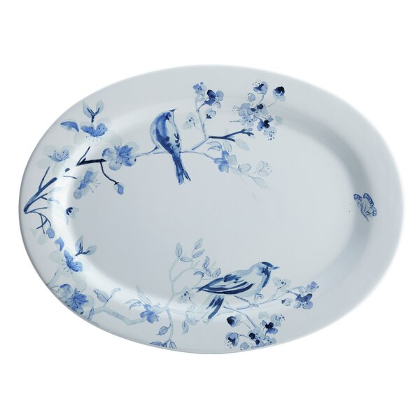 Indigo Blossom Stoneware Oval Serving Platter by Paula Deen