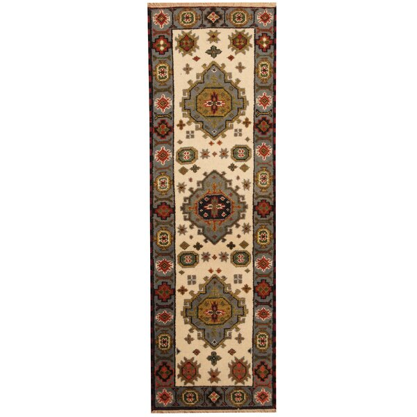 Kazak Hand-Knotted Ivory/Gray Area Rug by Herat Oriental