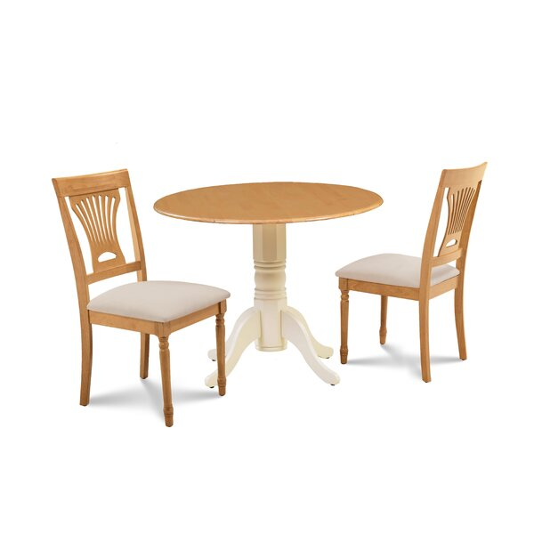 Finnigan 3 Piece Drop Leaf Solid Wood Dining Set by Millwood Pines