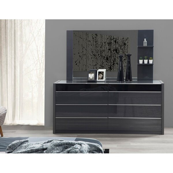 Glastonbury 6 Drawer Double Dresser with Mirror by Orren Ellis