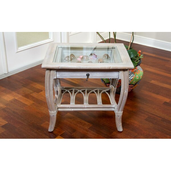 Presley Glass Top End Table with Drawer by Bay Isle Home