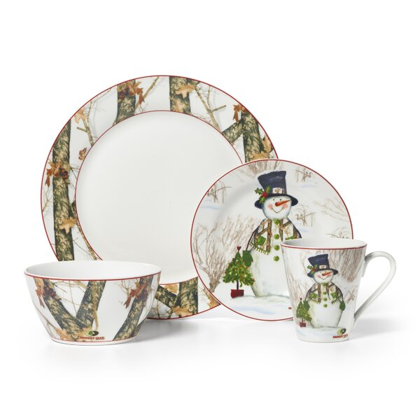 Mossy Oak Snowman 16 Piece Dinnerware Set, Service for 4 by Mossy Oak