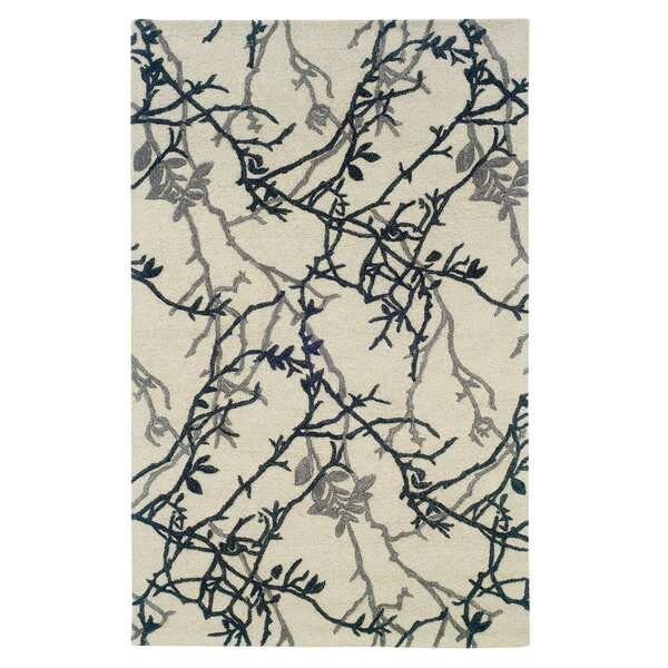 Alesha Hand-Tufted Gray/Blue Area Rug by Ebern Designs