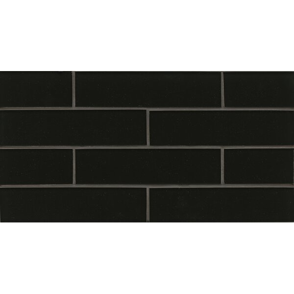Remy Glass 8 x 16 Glass Mosaic 2x8 Gloss Mesh Mount Tile in Black by Grayson Martin