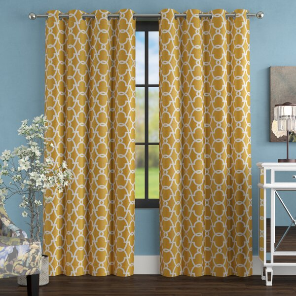 Britain Geometric Blackout Thermal Grommet Curtain Panels (Set of 2) by Willa Arlo Interiors