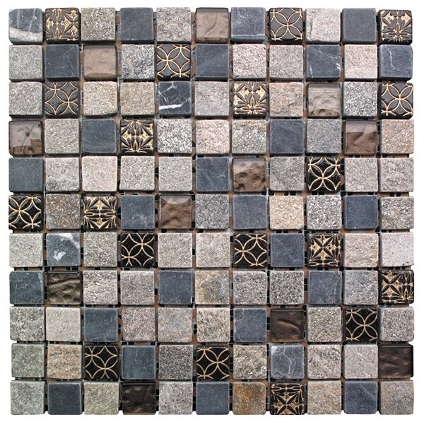 Natural Splendor 1 x 1 Glass and Natural Stone Square Mosaic Tile in 4 Color Blend by Intrend Tile