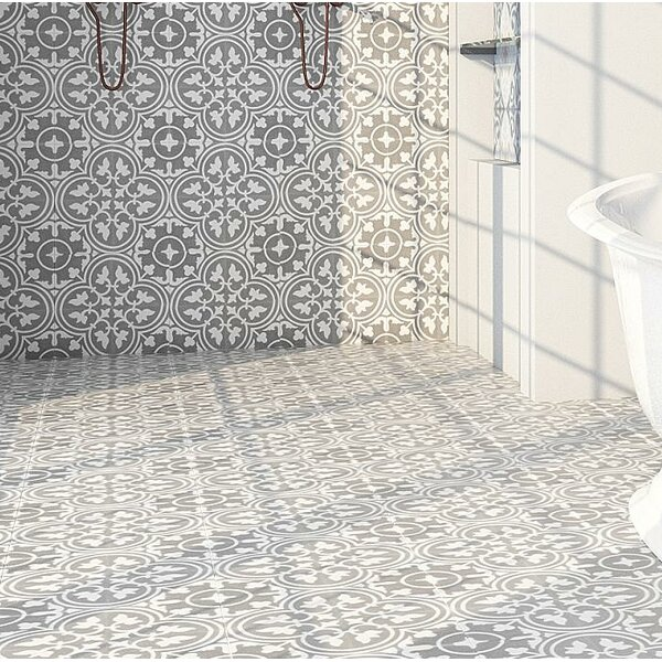 8 x 8 Cement Field Tile in Gray/White (Set of 4) by Rustico Tile & Stone
