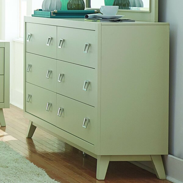 Hagerty 6 Drawer Double Dresser with Mirror by Brayden Studio
