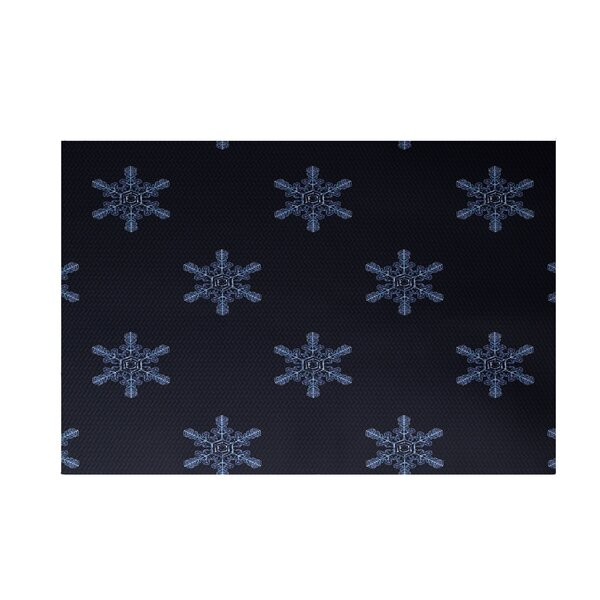 Flurries Decorative Holiday Print Navy Blue Indoor/Outdoor Area Rug by The Holiday Aisle