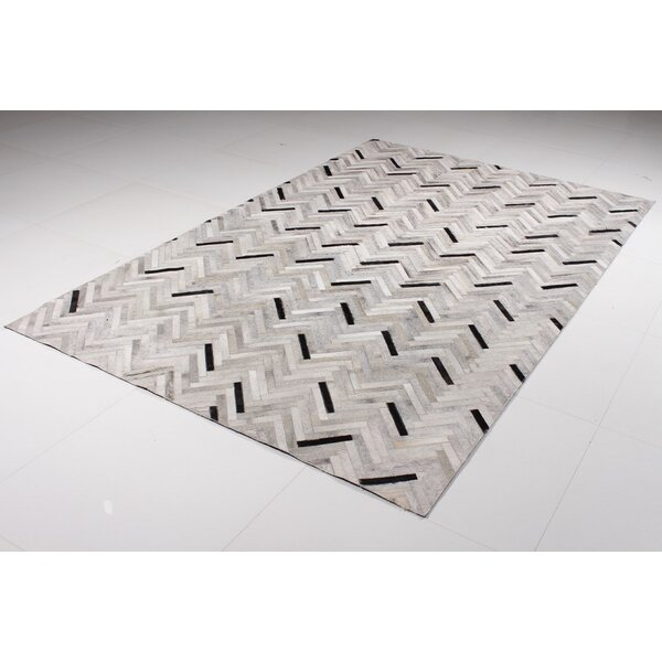 Malloy Cowhide Black/Gray Area Rug by Orren Ellis