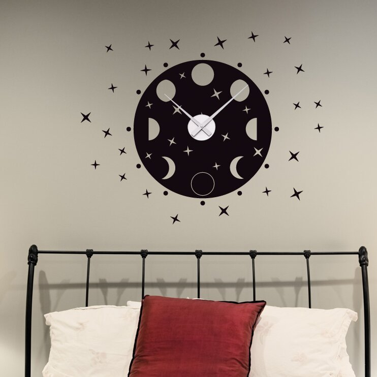 Style And Apply Phrases Of The Moon Wall Clock Wall Decal Wayfair