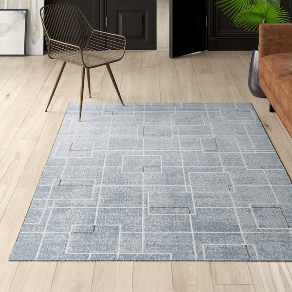 Larrick Geometric Blue/Gray Area Rug