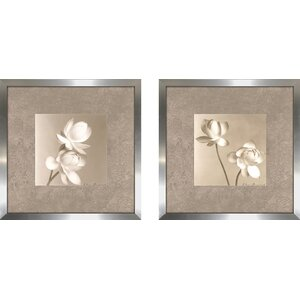 'Lotus Duo' 2 Piece Framed Graphic Art Print Set on Glass by Alcott Hill