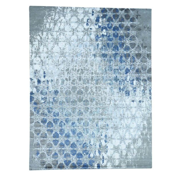 Award Winning Honeycomb Hand-Knotted Denim Blue/Gray Area Rug by Williston Forge