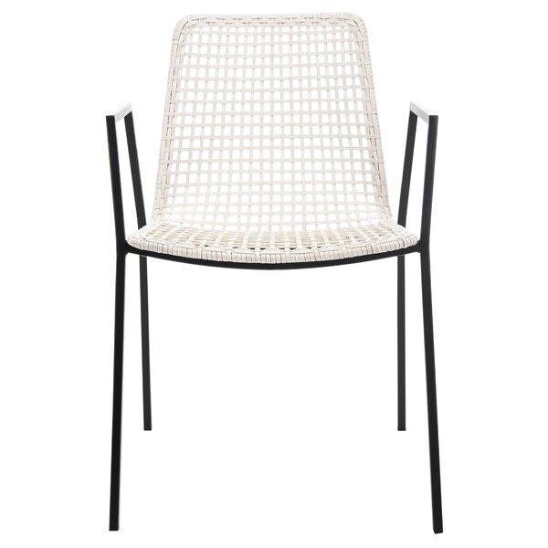 Estevan Leather Woven Dining Chair by Mistana