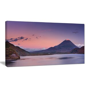 'Sunset at Mount Fuji and Lake Motosu' Photographic Print on Wrapped Canvas by Design Art