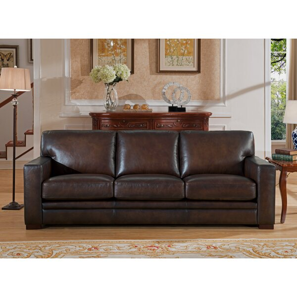 Mcdonald Leather Sofa by World Menagerie
