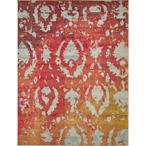 Aquarius Rust Red Area Rug by Bungalow Rose