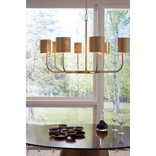 8 - Light Shaded Wagon Wheel Chandelier by Frederick Cooper Frederick Cooper