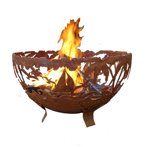 Tropical Fire Bowl Steel Wood Burning Fire Pit by EsschertDesign
