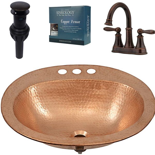 Kelvin and Courant All-in-One Drop-In Metal Oval Drop-In Bathroom Sink with Faucet by Sinkology