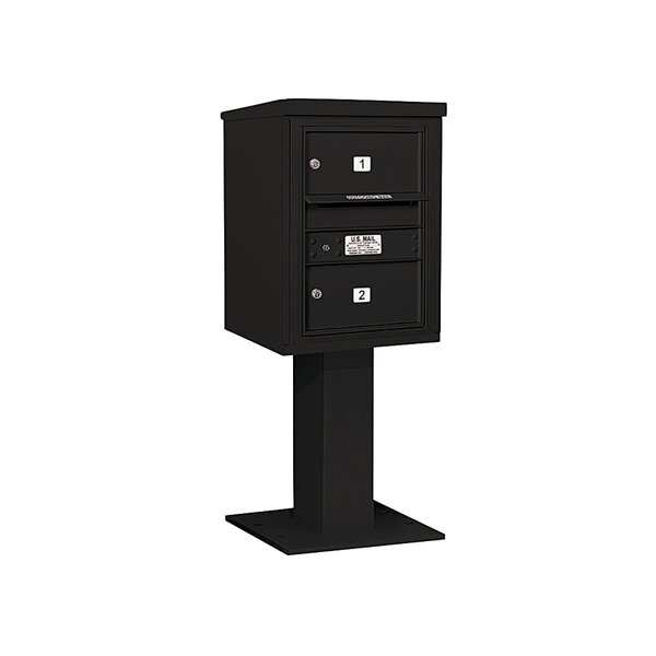Pedestal Mounted 2 Units 3 Door Front Load 4C Horizontal Cluster Box Unit by Salsbury Industries