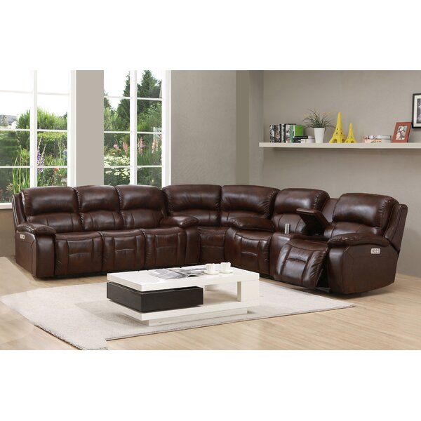 Kostka Leather Right Hand Facing Reclining Sectional By Red Barrel Studio
