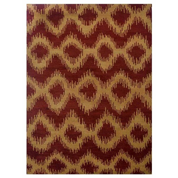 Heuer Geometric Hand-Knotted Wool Red/Gold Area Rug by Bloomsbury Market