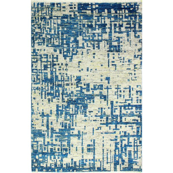 Jagtap Hand Knotted Cotton Blue/Biege Area Rug by 17 Stories